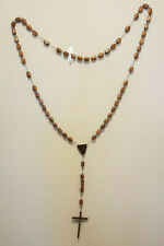 Vintage Wooden Wall Rosary Jesus Christ Christianity Religion