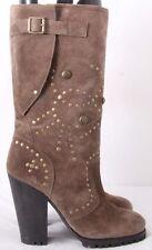 Ash Rolls Bis $325 Studded Buckle Zip Heels Boots Women's EURO 40M (US 9.5M)