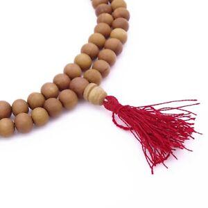 Brown Rosary Wood Japa Mala Indian Rose Wood Prayer Beads 6-8 Mm 109 Beads JM93A