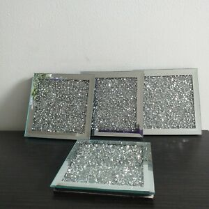Set of 4 Mirrored Crushed jewel Coasters Mirror Diamante Glass Cup Coaster Mat