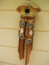 Tiki Thatch Bird House with Painted White Flowers Bamboo Wind Chimes FREE SHIP