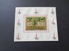 #K547- Vintage Unused Xmas Greeting Card Gold Foil Holiday Bells & Garland