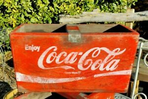 Red Coca Cola Vintage Style Wooden Box 30cm With Bar Handle