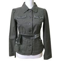 LOFT Classic Jacket Green Size 2 Women's XS Cotton Canvas Velvet Trim