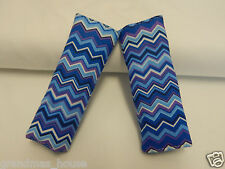 Baby Seat Belt Strap Covers Car Chair Stroller Pram - Chevron in Blues