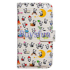 Bcov Happy Panda Pattern Card Slot Leather Wallet Cover Case For iPhone 5C
