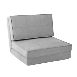 Your Zone Ultra Suede Convertible Flip Chair, Silver