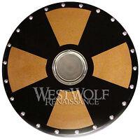 Round Wooden VIKING CROSS SHIELD -- sca/larp/norse/greek/medieval/steel/armor