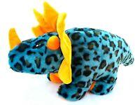 Orange Teal Triceratops Dinosaur Piggy Bank Roars Soft Plush Animal Toy 40CM