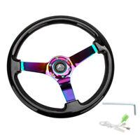 "Hiwowsport 14"" Black Wood Steering Wheel 6 Bolts 3"" Depth  Neo Chromed Spoke"