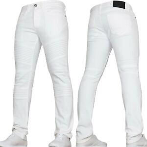 New Mens Boys VON DENIM Biker Jeans in Stretch Denim Available in White