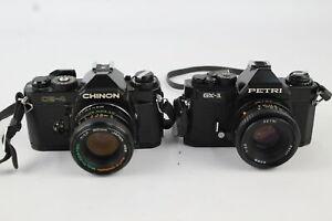 2 x SLR FILM CAMERAS Inc. Chinon CE-4 & Petri GX-1 w/ Lenses WORKING