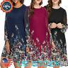 Plus Size Women Boho Floral knee-Length Dress Long Sleeve Loose Party Dresses US