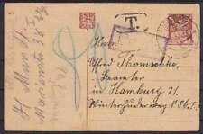 Tschechoslowakei alte 40 c. Ganzsache, gel. nach Hamburg mit Tax u. Porto St, GA