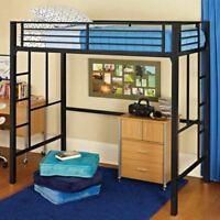 Twin Loft Bed with Ladder Metal Frame Bunkbed Kids Teens Bedroom Dorm BLACK