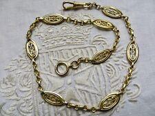 Bijou ancien 1900 importante chaîne montre à gousset plaqué or filigrané poinçon