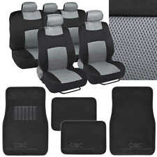 4 Pc Plush Solid Gray Carpet - 9 Pc Sporty Spacer Mesh Gray Cloth Seat Cover