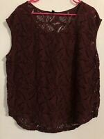 #30 Banana Republic XL blouse Solid Lace Sheer Floral Sleeveless