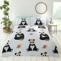 Rapport Panda Cute Fun Animal Floral Print Duvet Cover Bedding Set Multi