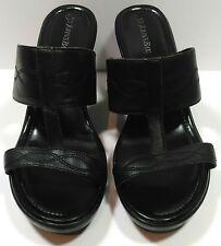 St John's Bay Women's Wedge Heel Sandals Black Leather Upper Size 11 Slip On