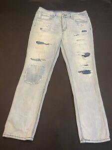 American Eagle Jean/TomGirl Women Sz.8-Cotton Bl-Blue Distress/Patches-Strt Leg