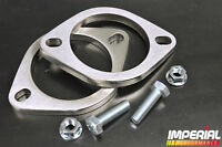 """2x 3in/76mm UNIVERSAL EXHAUST FLANGE 2 BOLT stainless steel decat system 3"""" inch"""