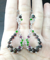 AAA NATURAL BLACK OPAL RHODOLITE CHROME DIOPSIDE CZ -STERLING 925 SILVER EARRING