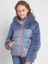 Gap Kids Girl's Elite Blue Mixed Fabric Faux Fur Hooded Jacket Coat S 6-7 NWT