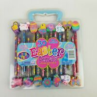 NEW Lisa Frank 30 Easter Pencils Value Pack With Jumbo Eraser Toppers Sealed