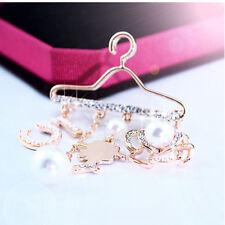 Jewelry Coat Hanger Style Women Dangle Rhinestone Pearl Pins Crystal Brooch