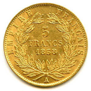 Napoléon III (1852-1870) 5 Francs Or Tête nue 1858 A Paris