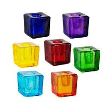 Glass Cube Mini Candle Holder -Red/Orange/Lt Blue/Dk Blue/Green/Yellow/Purple