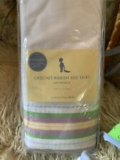 Pottery Barn Baby Crib Ribbon Bedskirt BED SKIRT Dust Ruffle Purple Green Yellow