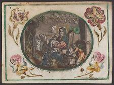 Hl. Familie Jesuskind Bambino Gesù - Pergament 17.Jh. altkoloriert Huberti