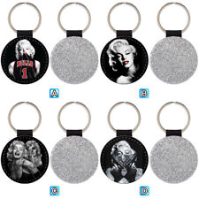 Tattooed Marilyn Monroe Leather Glitter Key Chain Keyring Car Ring Silver