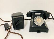 Original Antique Vintage GPO 332 Telephone Black Bakelite Rotary Phone Bell Box