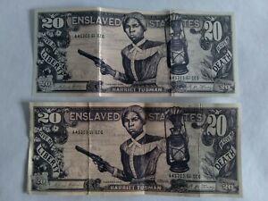 2  HARRIET TUBMAN  $20 Dollar Bill Novelty Cash 20 Twenty  Money Collectible