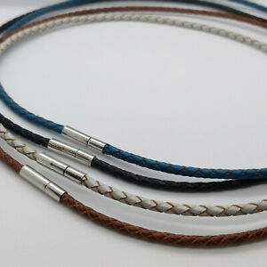 """Real Braided Leather Cord 3mm Necklace Bayonet Clasp 16-24"""" UK"""