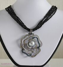 Halskette mehrreihig schwarz mit Anhänger Blüte graue Perle L 43cm Collier