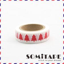 Red Christmas Tree White  Washi Tape, Craft Decorative Tape