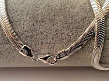 "18"" HALLMARKED STERLING SILVER FLAT SNAKE CHAIN NECKLACE SOLID SILVER GIFT"