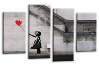 Banksy Wall Art Grey White Red Girl Balloon Canvas Abstract Split Picture