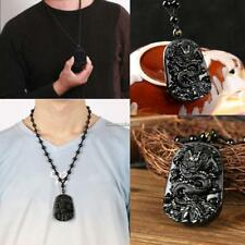 Black Obsidian Hand Carved Dragon Lucky Blessing Beads Pendant Necklace For Men