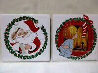 "Lot of 2 White 4"" X 4"" Ceramic Tiles Christmas Trivet/Coasters Jasco 1981"