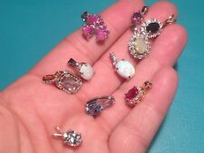Lot of 7 Sterling Silver & 3 Gold Vermeil Small Gemstone Pendants
