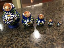 Vintage Set of 5 Russian Nesting Dolls Blue Floral Handpainted