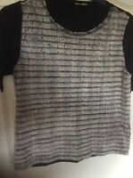 River Island Black T-Shirt Top with Fur Front Size 12