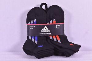 Youth Boy's Adidas 6 - Pair Quarter Cushioned Socks, Black / Multi, 3Y - 9