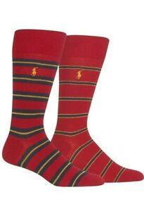 Polo Ralph Lauren Men's 2 Pack Ribbed Heel Toe Sock, 10-13, Multi-Color