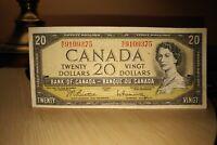 1954 $20 Dollar Bank of Canada Banknote WE9109375 VF 20